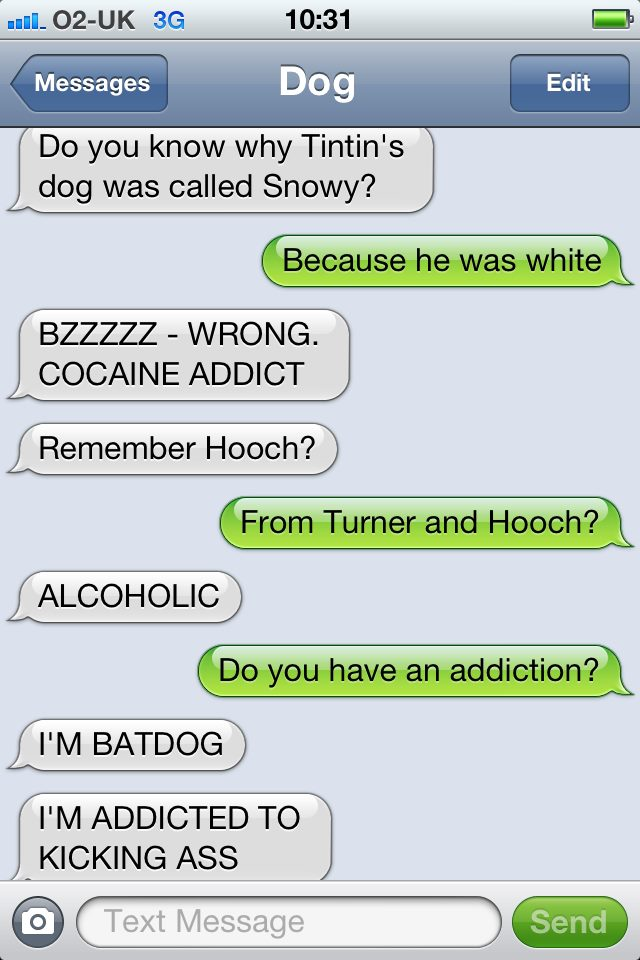 Friday funny text from dog